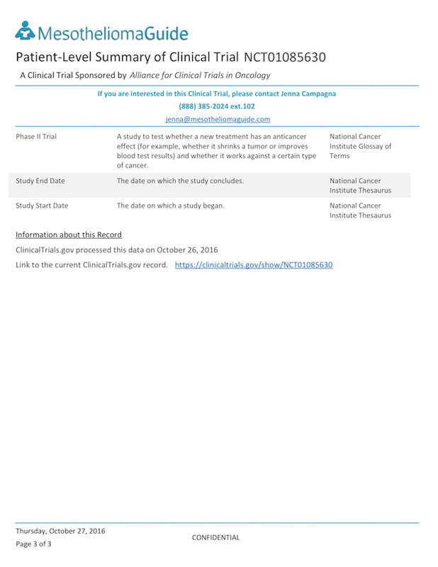 Recruiting Mesothelioma Clinical Trials - Get Enrolled