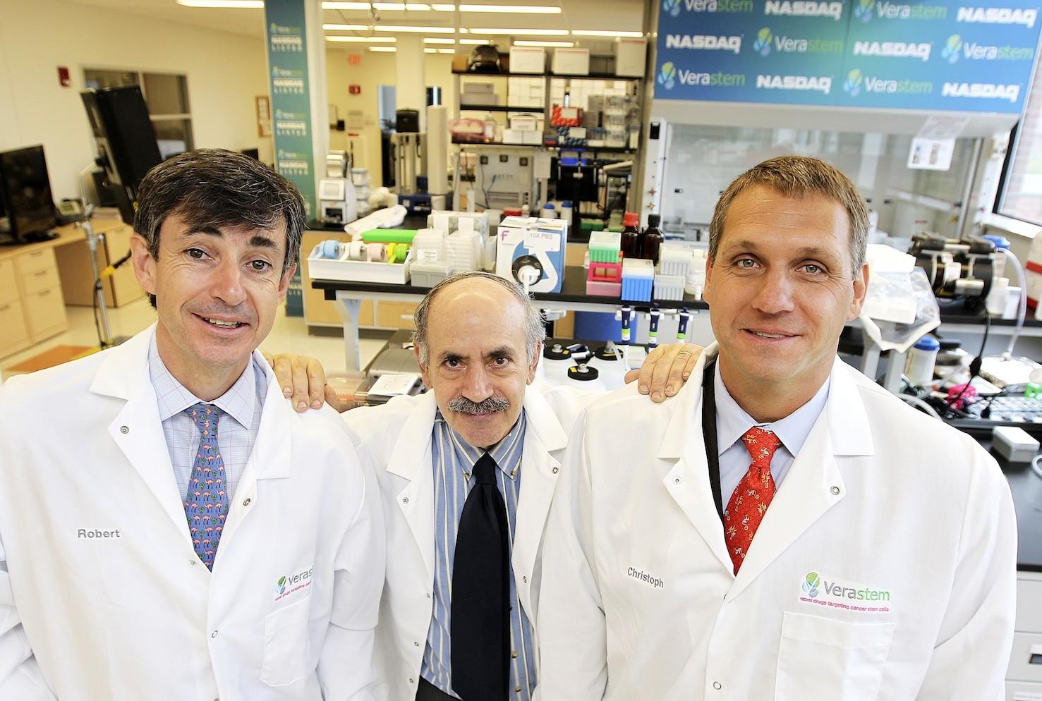 Verastem team: CEO Robert Forrester, Dr. Robert Weinberg, Dr. Christoph Westphal