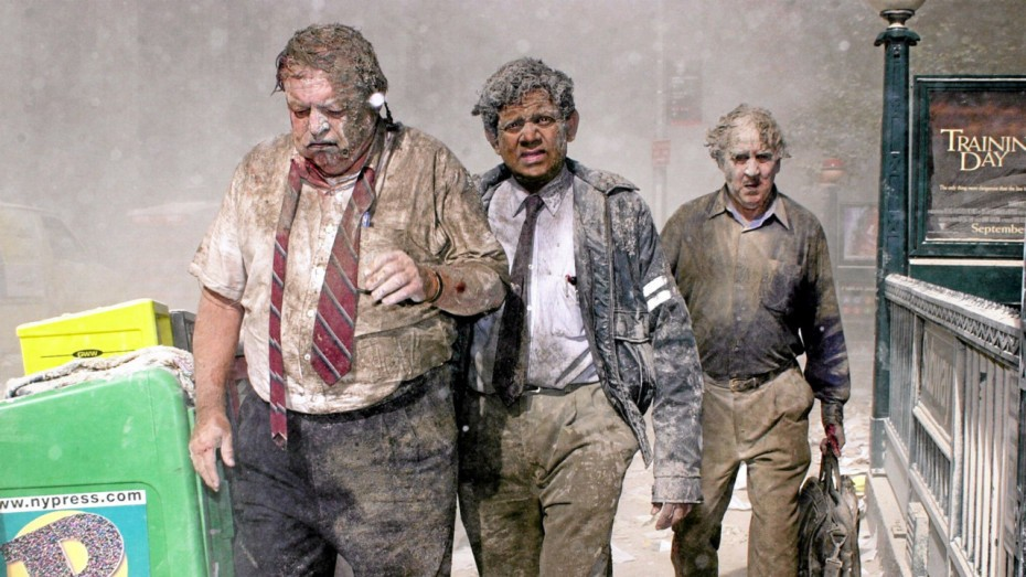 Three men walking away from the WTC after disaster struck