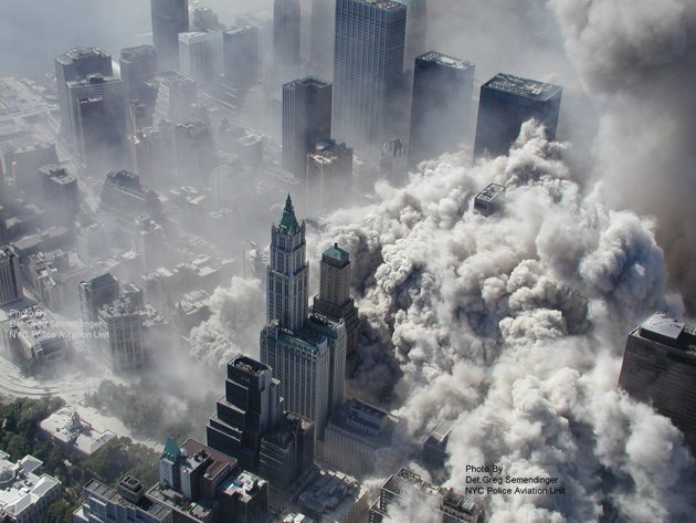 smoke billows from NYC on 9-11