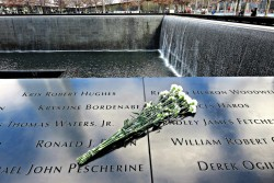 WTC memorial with flowers