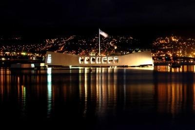 Pearl Harbor Memorial building at night