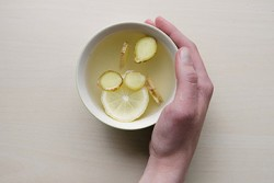 lemon and ginger in mug