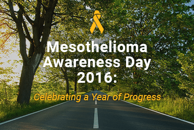 road through trees with text mesothelioma awareness day 2016: celebrating a year of progess
