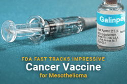 Syringe and bottle with text: FDA Fast Tracks Impressive Cancer Vaccine for Mesothelioma
