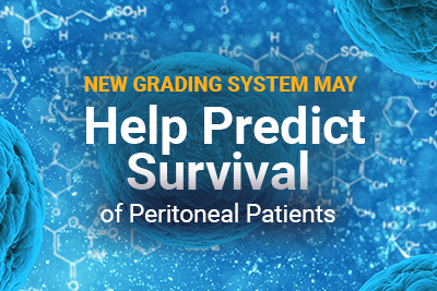 Cells and DNA image with title: New Grading System May Help Predict Survival of Peritoneal Mesothelioma Patients
