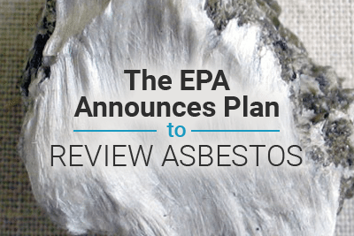 Picture of asbestos with text: The EPA Announces Plan to Review Asbestos as a Toxic Substance