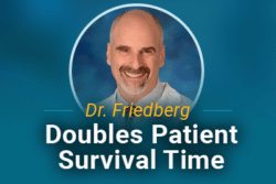 Image of Dr. Joseph Friedberg with text: Dr. Friedberg Doubles Survival Time for Mesothelioma Patients