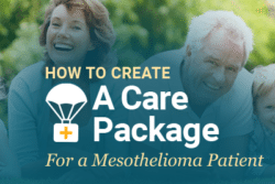 Image of older people laughing with text: How to Create a Care Package for a Mesothelioma Patient