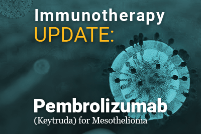 picture of a t-cell with text: Immunotherapy Update: Pembrolizumab (keytruda) for mesothelioma