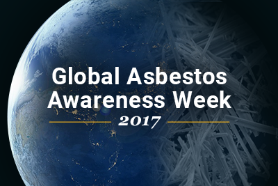Earth with asbestos, text: Asbestos Awareness Week 2017