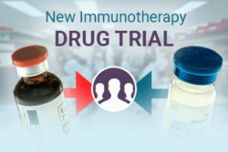 New Immunotherapy Drug Trial. Image of researchers in the background and two immunotherapy medicine bottles containers.
