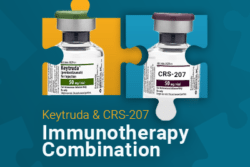 Medicine bottles in puzzle pieces with text: Keytruda & CRS 207 Immunotherapy Combination