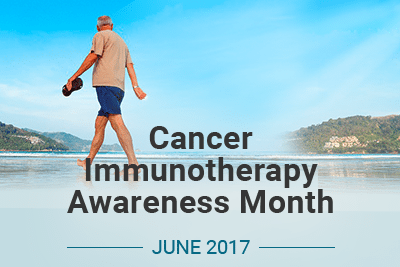 Man walking on beach with text: Cancer Immunotherapy Awareness Month June 2017
