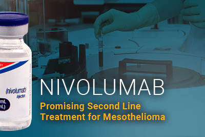Image of drug bottle of Nivolumab with researcher in background working in lab. Reads Nivolumab Promising Second Line Treatment for Mesothelioma
