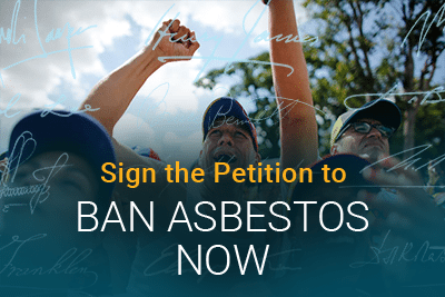 Man in protest with text: Sign the Petition to Ban Asbestos Now