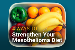Bowl of fruits and vegetables with text: 4 Ways to Strengthen Your Mesothelioma Diet