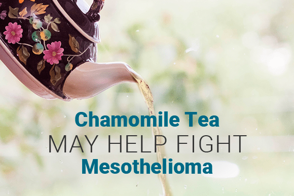 Tea Kettle pouring tea. Text reads: Chamomile Tea May Help Fight Mesothelioma