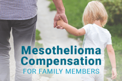 Child holding hands with older person with text: Mesothelioma Compensation for Family Members