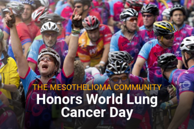 Image of tons of cyclist bike riders. Image reads: The Mesothelioma Community Honors World Lung Cancer Day.