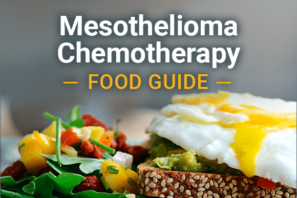 Egg on toast with salad, with text: Mesothelioma Chemotherapy Food Guide