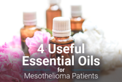 Image of flowers and essential oil bottles. Image reads: 4 useful essential oils for mesothelioma patients.
