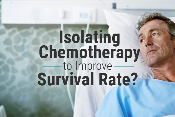 Image of a patient sitting in a hospital bed. Image reads: Isolating Chemotherapy to Improve Survival Rate?