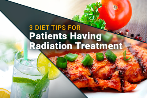 Image of vegetables, meat and a glass of water. Text reads: 3 Diets Tips For Radiation Treatment.