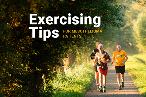 Image of men running on a road. Image reads: Exercising Tips For Mesothelioma Patients