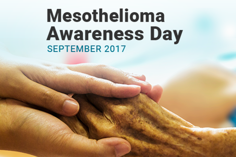 Image of comforting and helping hands. Text Reads: Mesothelioma Awareness Day September 2017