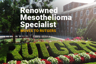 Rutgers garden with title: Renowned Mesothelioma Specialist Moves to Rutgers