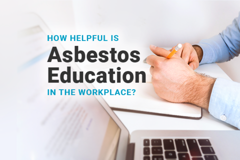 Image of person taking notes with a laptop. Image reads: How Helpful Is Asbestos Education In The Workplace
