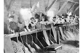 Image of women working in an asbestos mine.