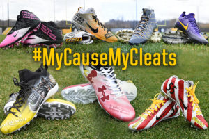 Image of football cleats that reads #MyCauseMyCleats