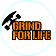 Logo for Grind for Life witch skateboard.