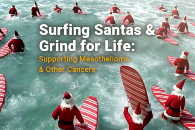 Images of Santas surfing in the ocean. Image reads: Surfing Santas and Grind for Life Supporting Mesothelioma and other Cancers