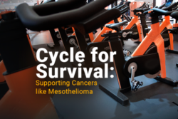 Image of cycling bikes that reads Cycle for Survival Supporting Cancers like Mesothelioma