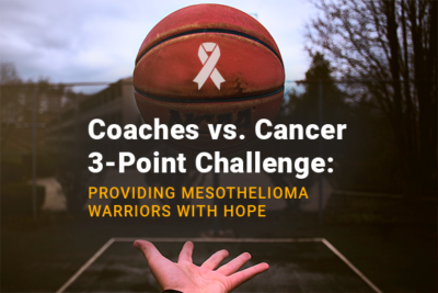 Hand throwing a basketball with a mesothelioma awareness ribbon on it. Image reads: Coaches vs. Cancer 3-Point Challenge: Providing Mesothelioma Warriors With Hope